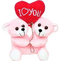 Tabby Toys Cute Couple Teddy With Heart Shape Baloon  - 26 cm (Pink, White)