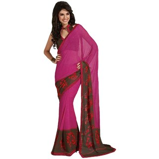 Sudarshan Silks Printed Gerogette Net & Raw Silk Pink Colored Saree (Design 9)