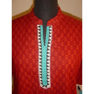 Mayur Collections Red coloured kurti with Collars