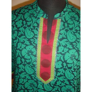 Mayur Collections Green coloured kurti with collars