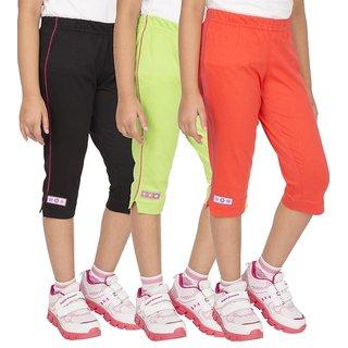 OCEAN RACE Womens Stylish attarctive colors Cotton Capris(3/4 th Pant)-Pack of 3