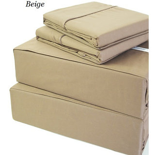 400 Thread Count Super Soft Extra Deep Pocket Sheet Set Twin Long Solid Beige Fit Up To 19 Inches Limited Period Offer