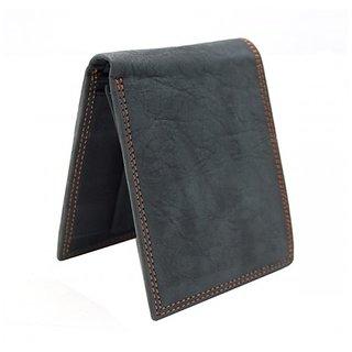 Rugged Finish Men's Black Leather Wallet