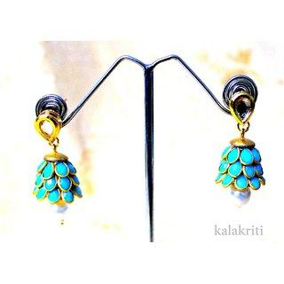 kundan & stone earrings with pearls