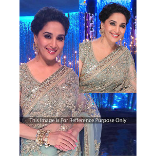 Thankar online trading Grey Net Embroidered Saree With Blouse