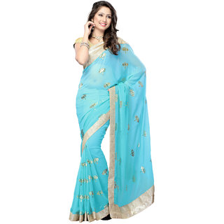 Tiana Creation Blue Georgette Embroidered Saree With Blouse
