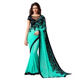 Tiana Creation Mintorsi Cyan Green And Black Designer Saree