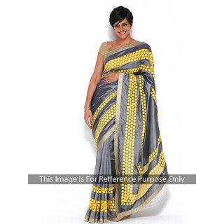 Thankar online trading Grey Georgette Embroidered Saree With Blouse