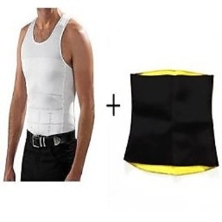 Slim N Lift White Cotton Plain Vests For Mens With Slim Hot Shapewear