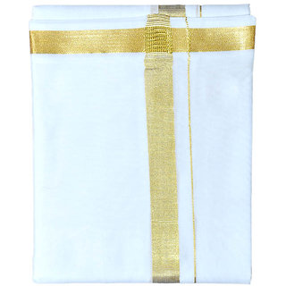 Fashionkiosks Mens Traditional 1 Inch Gold Border Dhoti 1inchgold