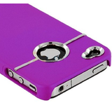 Gioiabazar Deluxe W/Chrome Rubberized Snapon Hard Back Cover Case For Iphone 4 4S Purple