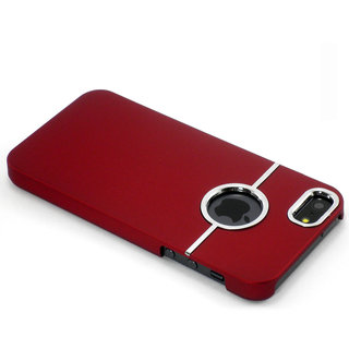 Gioiabazar Deluxe W/Chrome Rubberized Snapon Hard Back Cover Case For Iphone 5 5S 5G Red