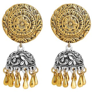 Adwitiya 24k gold plated antique silver finished ethnic jhumki for womens