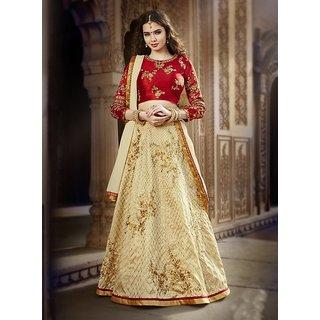 Thankar  Red  Cream Embroidered Banglori  Silk  Designer Lehenga