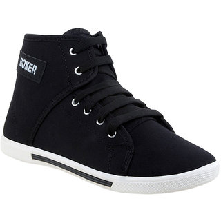 Clymb Black Canvas Tpr Lace-up Casual Sneakers For Men