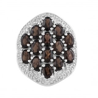 925Sterling Silver Smokey Quartz and Cubic Zirconia studded Ring by Allure