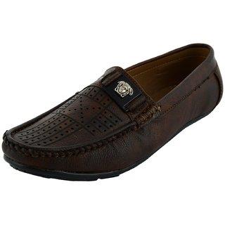 Okayy Brown Laser Loafer For Men