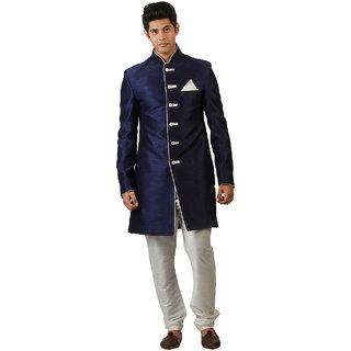 Amora Designer Ethnic Blue  Silk  Indo-western Sherwani For Men