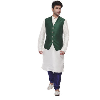 Amora Designer Green  White Silk Ehnic Set of Koti, Kurta and churidar For Men