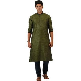 Amora Designer Ethnic Light Green Solid Linen A-line Kurta For Men