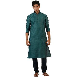 Amora Designer Ethnic Turquoise Blue Solid Linen A-line Kurta For Men