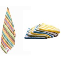 Aroma Combo Of 100% Cotton 1 Striped Bath Towel And 6 Striped Face Towels