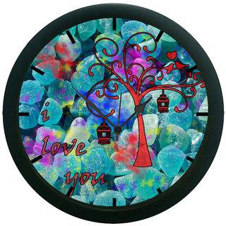 AE World Multi Colour Love U Wall Clock (With Glass)