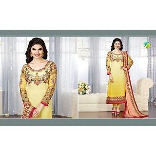 Light yellow designer straight cut dresss