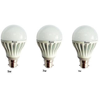 Bozz 5 W,7 W,9 W White Led Bulb (Set Of 3)