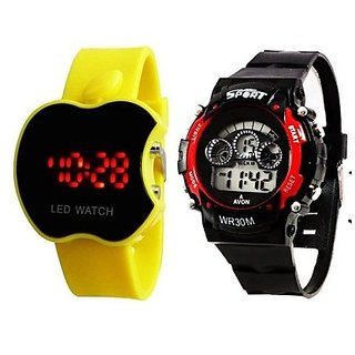 Apple Led Yellow  Kids Red Watch