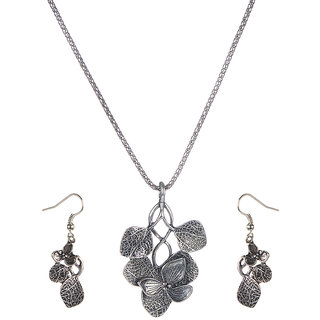 Urthn Alloy Silver Contemporary Pendant Set - 1202520