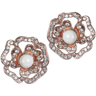 Urthn Alloy White Floral Stud Earrings - 1306829