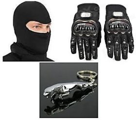 Combo Of Universal Full Face Mask + Riding Gloves Black Size XL+Jaguar Key Chain