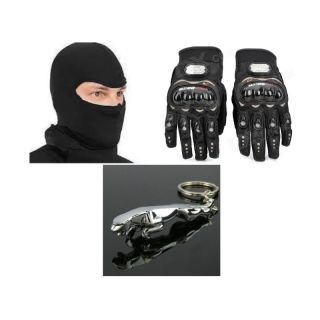 Combo Of Universal Full Face Mask + Riding Gloves Black Size XL+Jaguar Key Chain