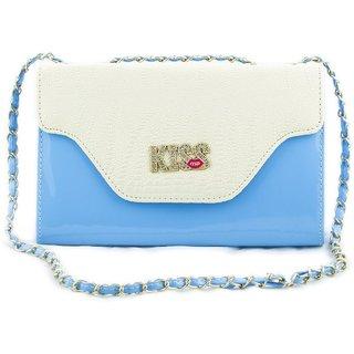 Voaka Womens Blue Ivory Kiss Sling Bag