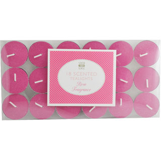 ROSE SCENTED TEALIGHT CANDLES - 18PK