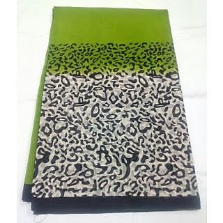 revin branded green with black colour cheetah cotton saree