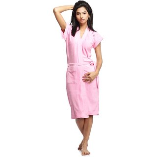Imported Soft Terry Towel Bathrobe SPA Gown (Pink)
