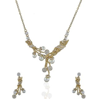 Anuradha Art Golden Polish Stylish Necklace Set For Women