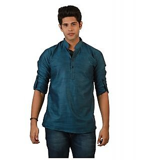 Amora Designer Ethnic Blue Solid Linen Straight Short Kurta For Men