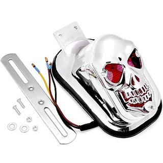 AutoStark 1x Custom Chrome Plated Skeleton Tombstone Tail Rear Brake Running Universal Fit Silver