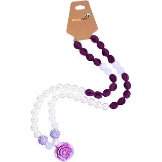 Needy Bee Kids Lavender/White 2 pc Jewellery Set (Necklace  Earrings)