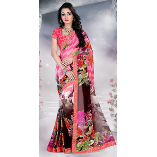 Sareemall Multi Colour Printed Georgette Saree with Unstitched Blouse HTK1001