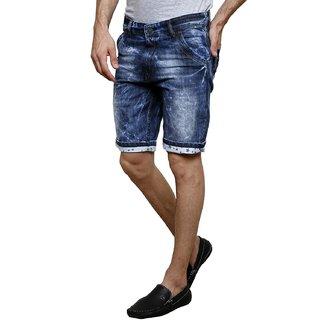 3Concept Cotton Blue Solid Denim Mens Shorts