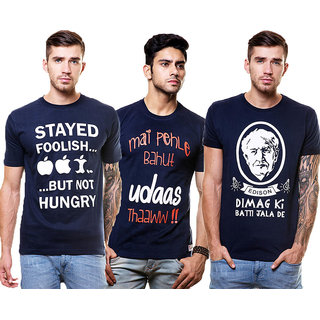 Enquotism Men's Multicolor Round Neck T-Shirt (Pack of 3)