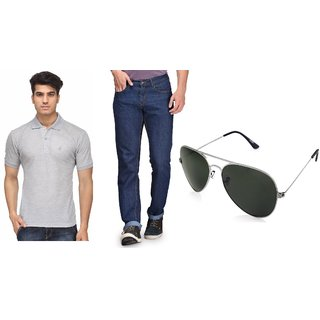 Rico Sordi Mens Combo of Jeans with T-shirt  Sunglass ( RSD1039BLJCNT004)
