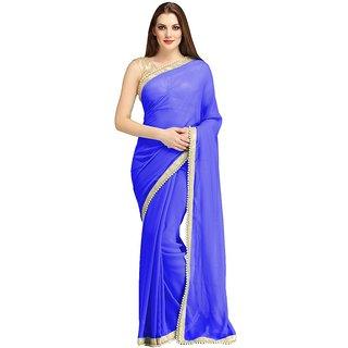 Bhuwal Fashion Blue Chiffon Lace Saree With Blouse