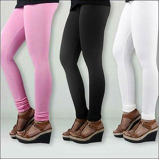 Juliets Stretchable Cotton Leggings Combo Pack of 3 Pink- Black- White