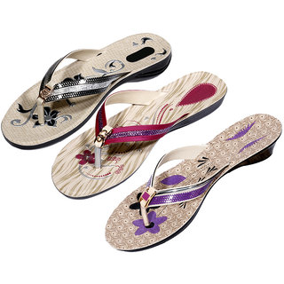 Krocs Super Comfortable  Flip flop For Women (Pack of 3 Pair)