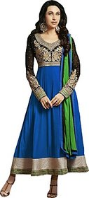 WHITEPET BLUE Georgette Embroidered Semi-stitched Salwar Suit Dupatta Material